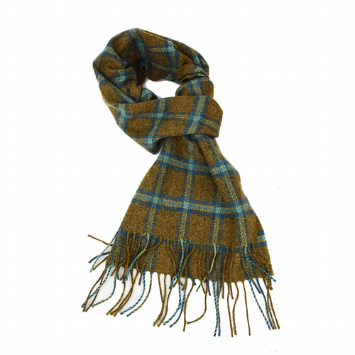 Lambswool Scarf - Green Check